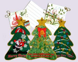 Fabric X'mas Tree - Stand Embroidered Cards