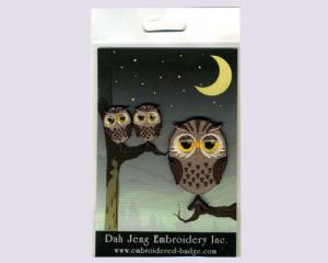 Owl Embroidered Stickers Package with Rhinestones