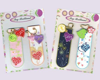 Pink & Blue Embroidered Bookmarks Pack with Embroidered Charms