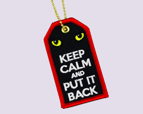 Embroidery Luggage Tag - Keep Calm