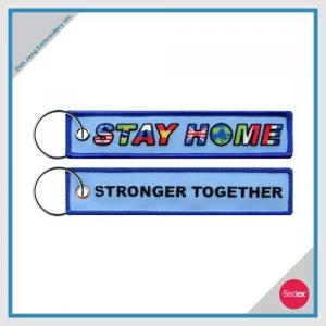 COVID-19 - STAY HOME EMBROIDERY KEY CHAIN - BLUE