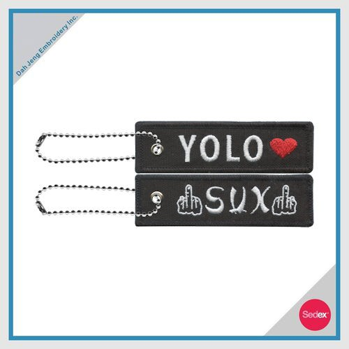 Recycled Fabric & Thread - YOLO SUX Key Chain