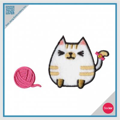 Embroidered patch Cat with Ball of Yarn Sticker Pack