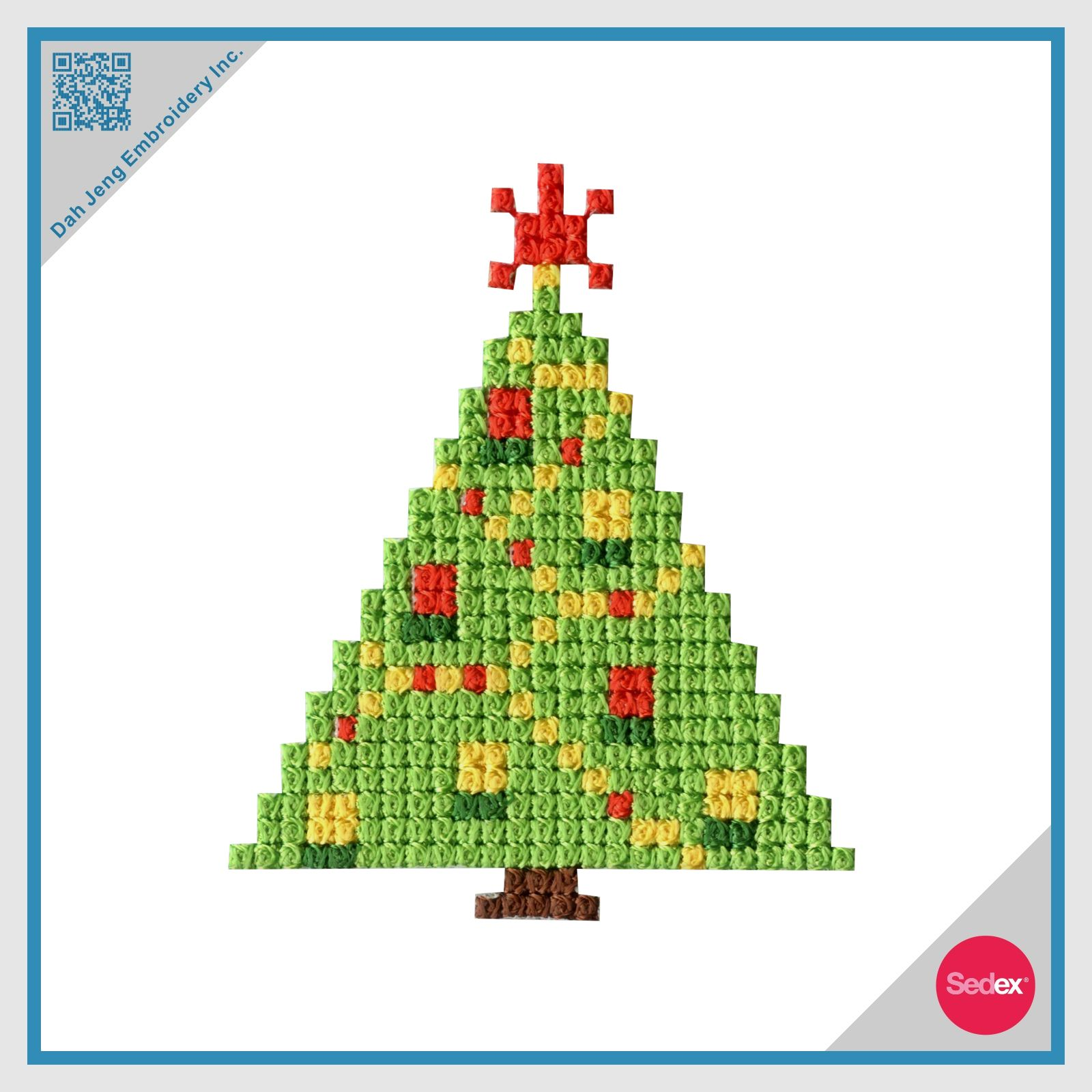 Mosaic Embroidery Sticker- Christmas Tree