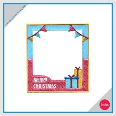 Removable Photo Frame Embroidery Sticker - MERRY CHRISTMAS