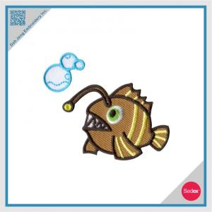 Embroidery with Rhinestone Sticker Set - Fish with bubble