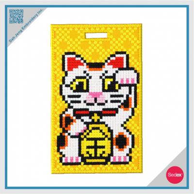 Mosaic Embroidery Luggage Tag- Lucky Cat