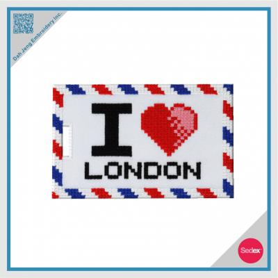 I Love London Mosaic Embroidered Luggage Tag